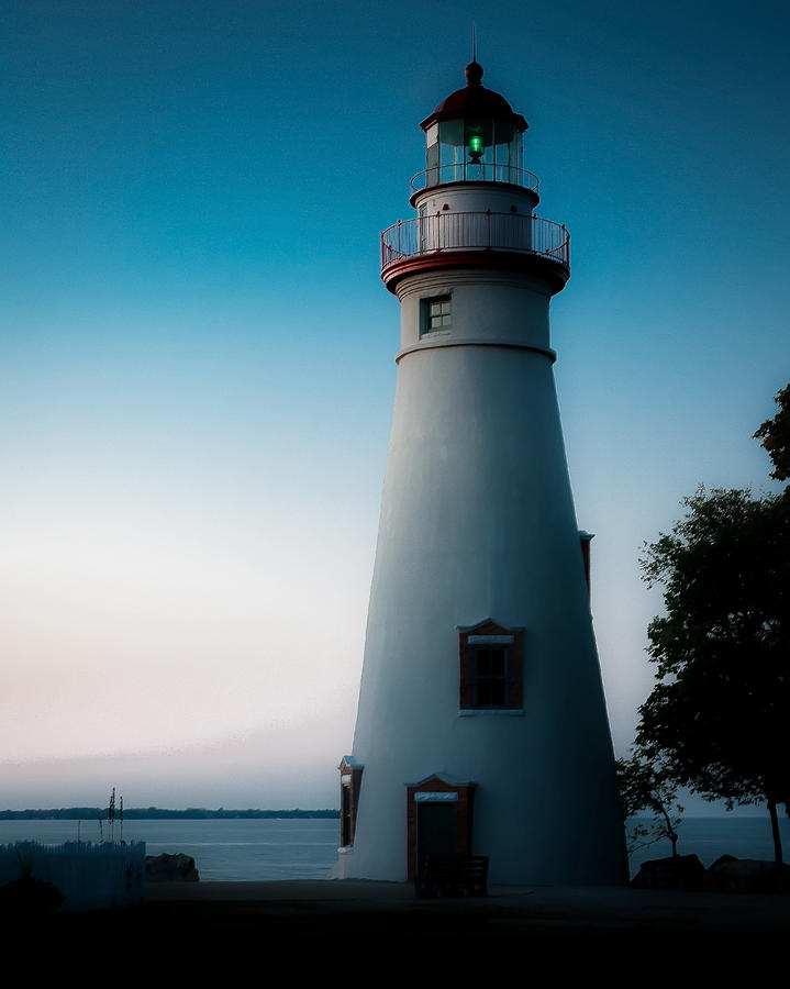 Marblehead Lighthouse Photograph - Marblehead Lighthouse Dusk by John Traveler