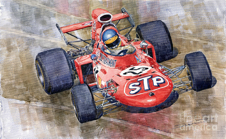 Watercolor Painting - March 711 Ford Ronnie Peterson Gp Italia 1971 by Yuriy  Shevchuk