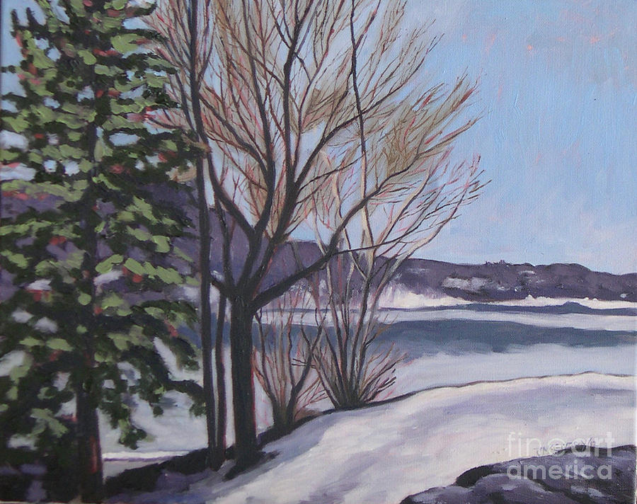 Winter Landscapes Painting - March At Deerhurst by Joan McGivney