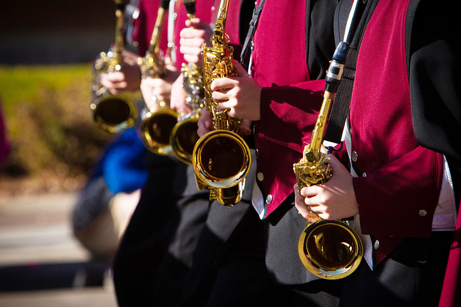 Saxophone Photograph - Marching Band Saxophones  by James BO  Insogna