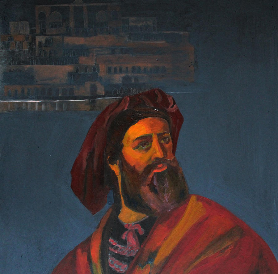 Blue Painting - Marco Polo by Banafshe Ahmadzadeh