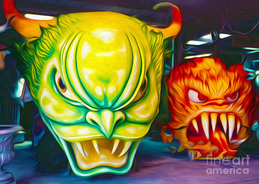 Mardi Gras Painting - Mardi Gras Devils by Gregory Dyer