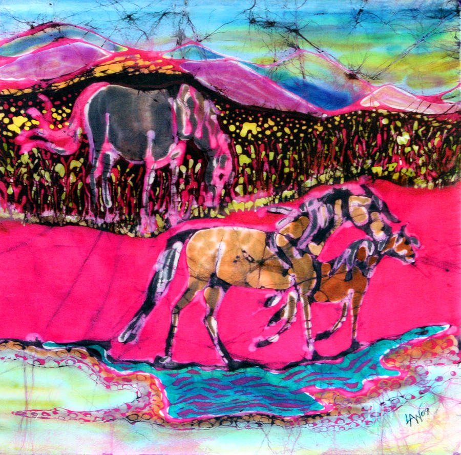 Mare Tapestry - Textile - Mare And Foal by Carol Law Conklin