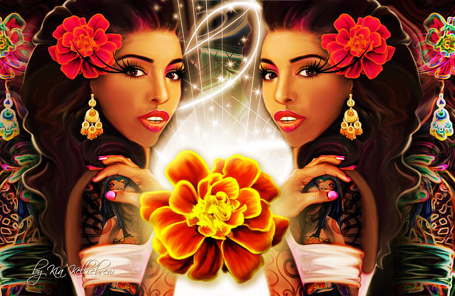Marigold Digital Art - Mari Gold by Kia Kelliebrew