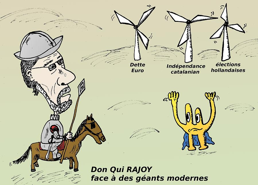 Mariano Rajoy Don Quichotte Moderne Caricature Mixed Media by OptionsClick BlogArt