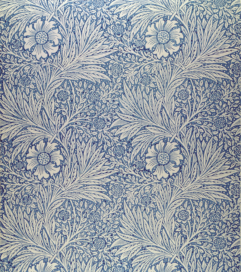 Arts And Crafts Movement; Floral; Pattern; Marigolds Tapestry - Textile - Marigold Wallpaper Design by William Morris