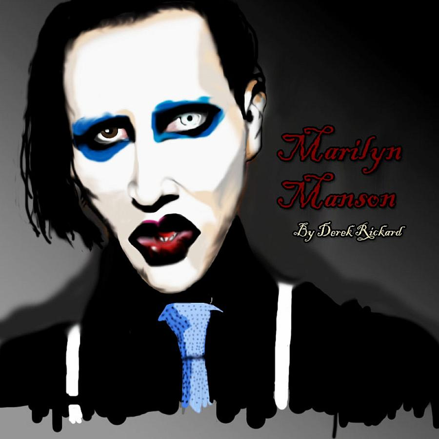 Marilyn Manson Painting Painting - Marilyn Manson Portrait by Derek Rickard