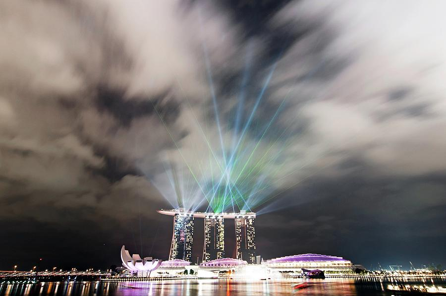 Horizontal Photograph - Marina Bay Colourful Night by Paul Biris