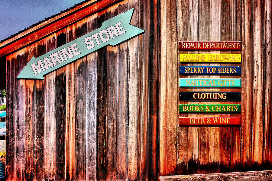 Shops Photograph - Marina Store Signs by Trudy Wilkerson