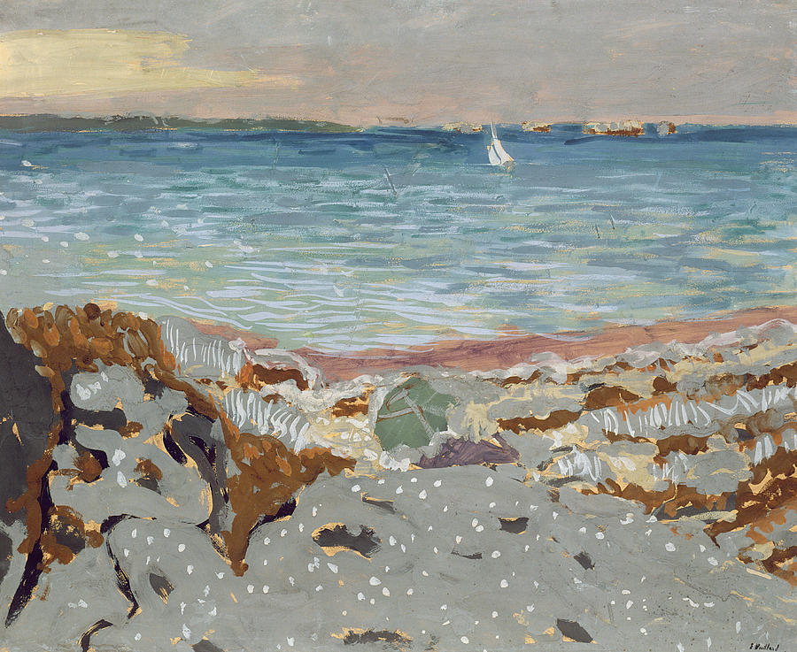 Post-impressionist; Seascape; Coast; Coastal; Pebble Beach; Sailing Boat Picturesque Painting - Marine by Edouard Vuillard