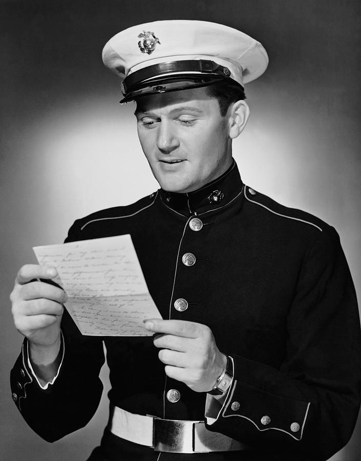 Adult Photograph - Marine Reading Letter by George Marks