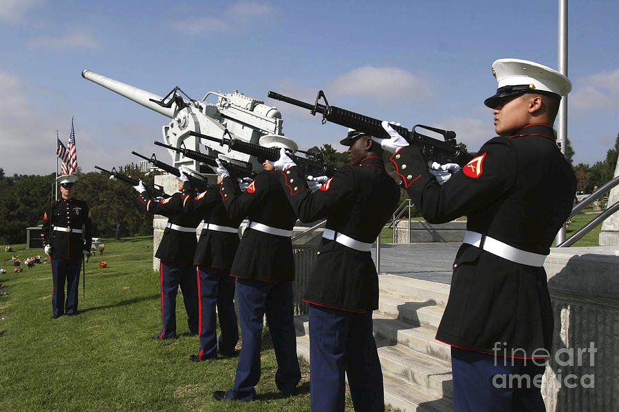 Dress Uniform Photograph - Marines Practices Drill Movements by Stocktrek Images