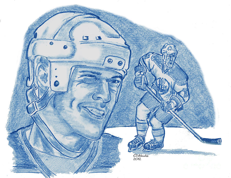 Nhl Drawing - Mark Messier by Chris  DelVecchio