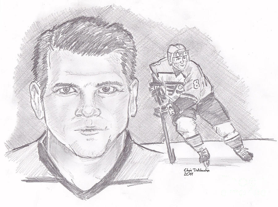 Philadelphia Drawing - Mark Recchi by Chris  DelVecchio