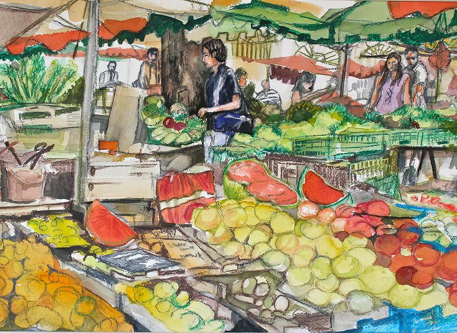 Market Painting - Market At Aix En Provence by Laurel Fredericks