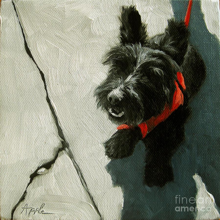 Scottie Dog Painting - Market Day - Scottie Dog by Linda Apple