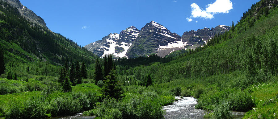 Rocky Mountains Digital Art - Maroon Bells Panorama by Bill Kennedy