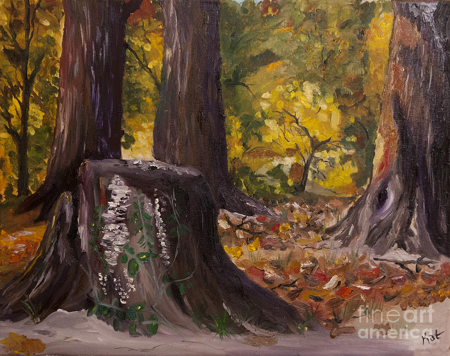 Oil Painting - Marr Park Trees Of Fall by Art Hill Studios