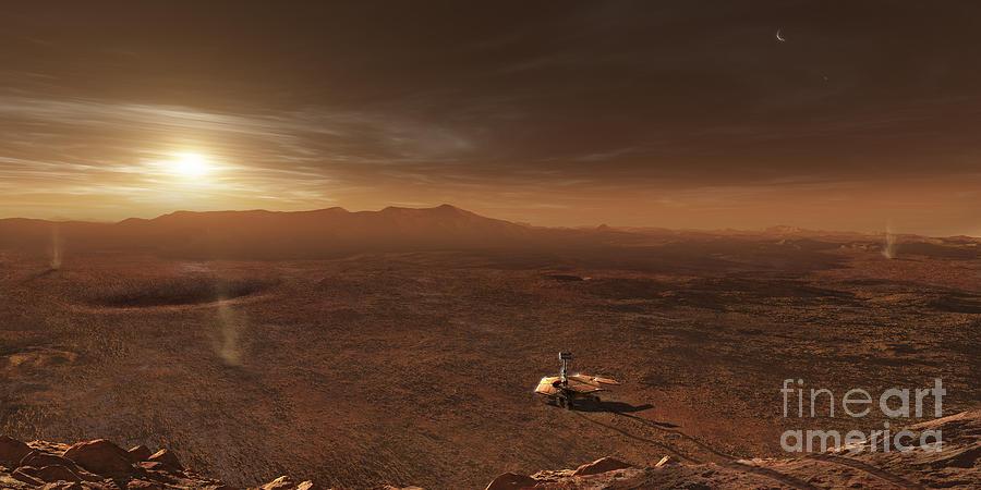 Mars Exploration Rover Spirit In Gusev Digital Art by ...