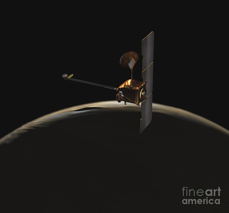 Spectrometer Digital Art - Mars Odyssey Spacecraft Over Martian by Stocktrek Images
