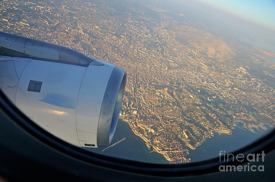 City Photograph - Marseille City From An Airplane Porthole by Sami Sarkis