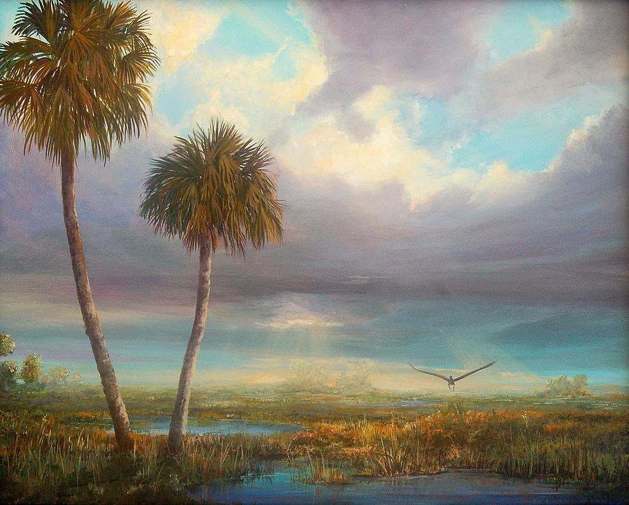 Florida Painting - Marsh Launch by AnnaJo Vahle