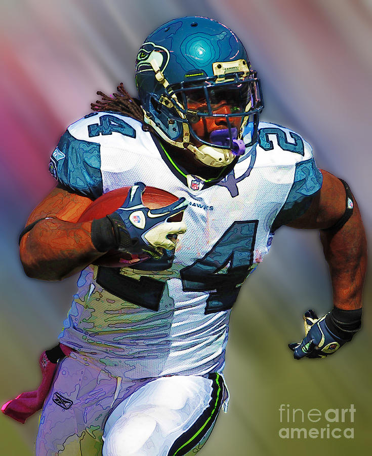 Graphics Photograph - Marshawn Lynch by Herb Paynter