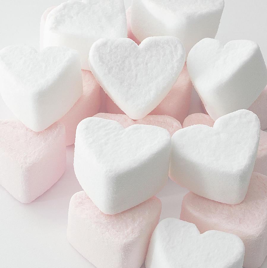 Square Photograph - Marshmallow Love Hearts by Kim Haddon Photography