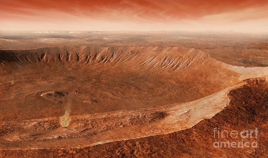 Red Planet Digital Art - Martian Gullies In Noachis Terra, Mars by Steven Hobbs