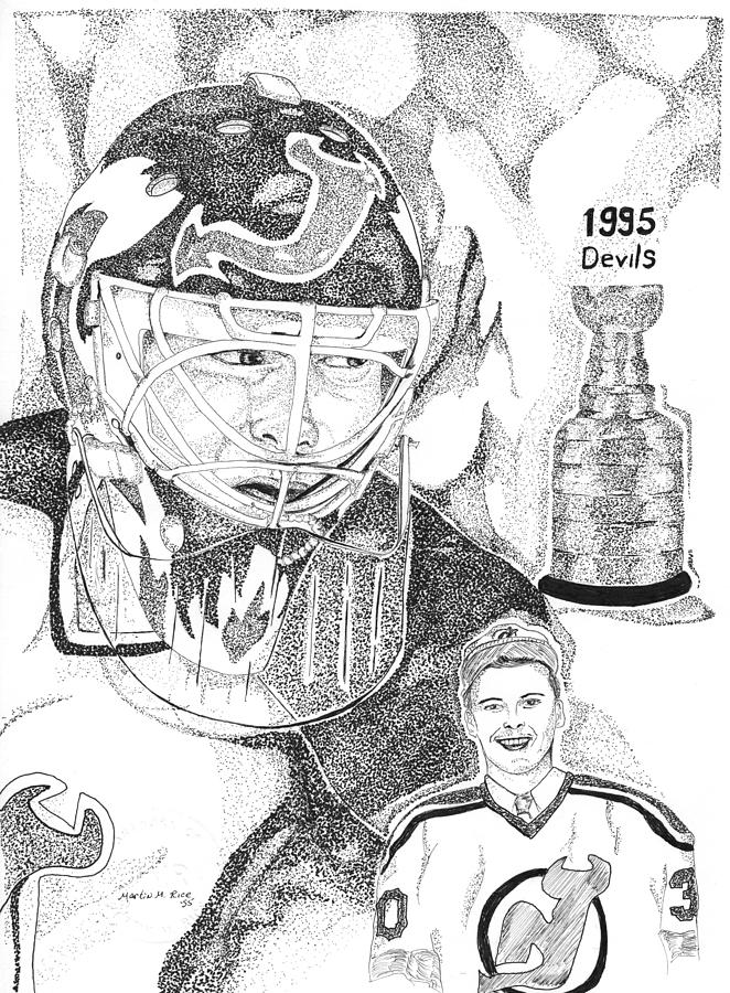 Your Home Drawing - Martin Brodeur Sports Portrait by Marty Rice