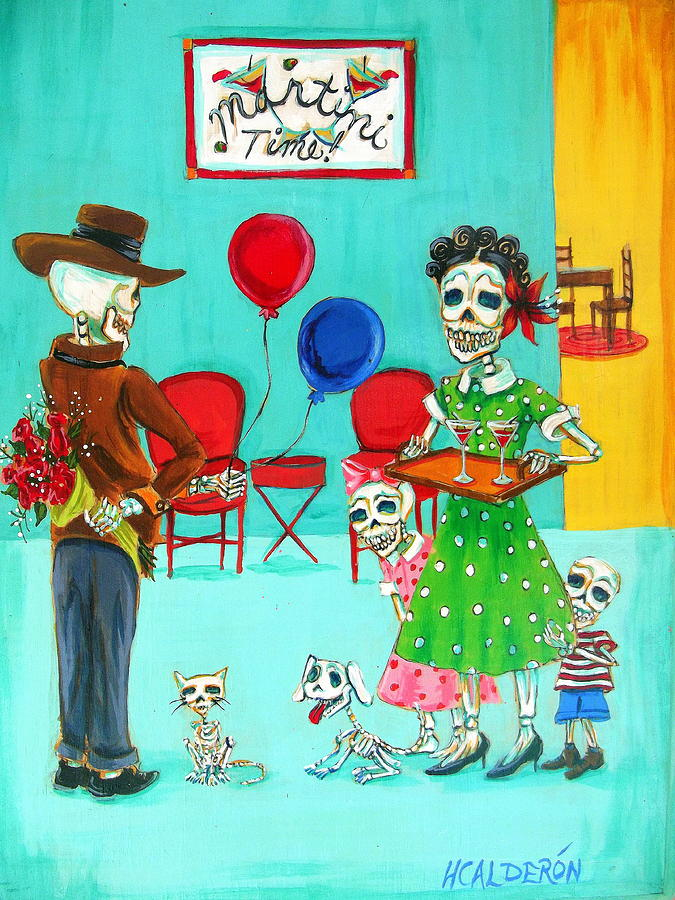 Day Of The Dead Painting - Martini Time by Heather Calderon
