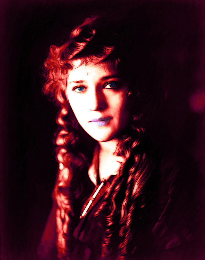 Mary Pickford Oil Painting Actress Female Woman Expressionism Erotic  Painting - Mary Pickford 2 by Steve K