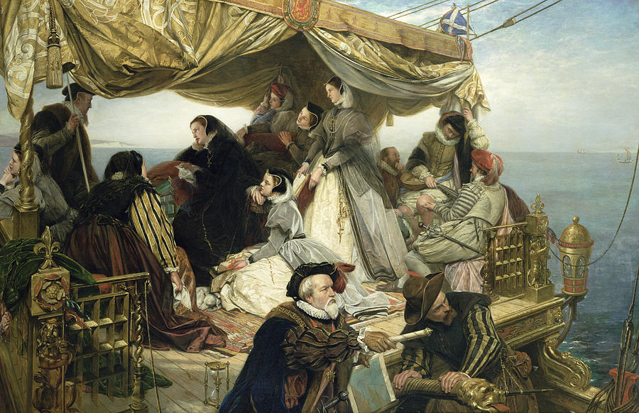 Maids; Scotland; Flag; Melancholy; Sad; Queen Of Scots; Deck; Ship; Channel; Navigating; Unhappy; Lute; Books; Servants; Map; Advisors; Costume; Fashion Painting - Mary Stuarts Farewell To France by Henry Nelson O Neil