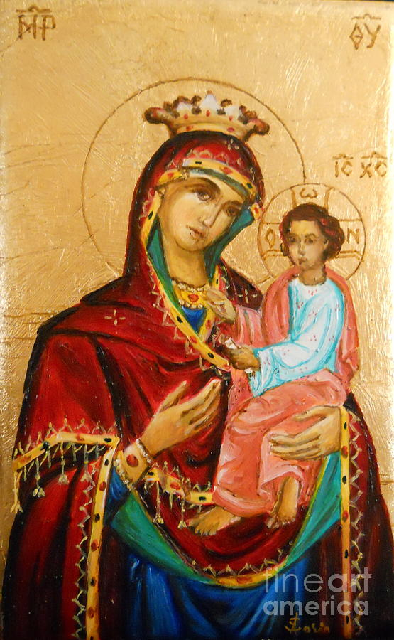 Icon Painting - Mary With Jessus R.3 by Sorin Apostolescu