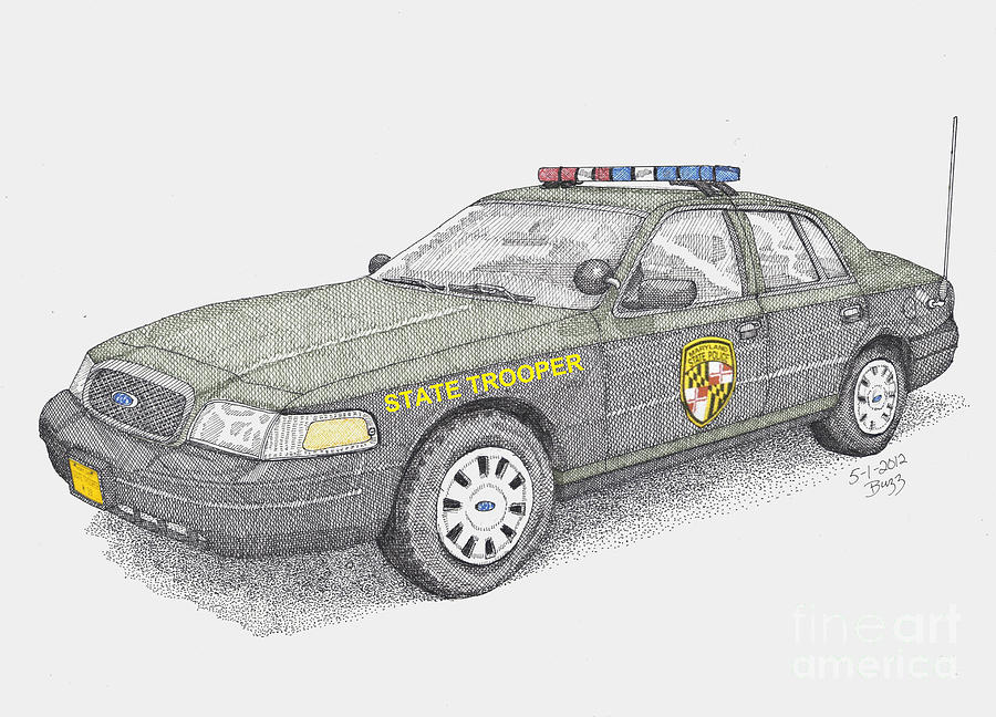 Maryland Drawing - Maryland State Police Car 2012 by Calvert Koerber