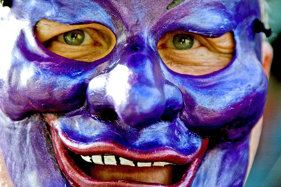 Mid Adult Photograph - Mask At New Orleans Mardi Gras Parade, New Orleans, Louisiana, United States Of America, North America by Ray Laskowitz