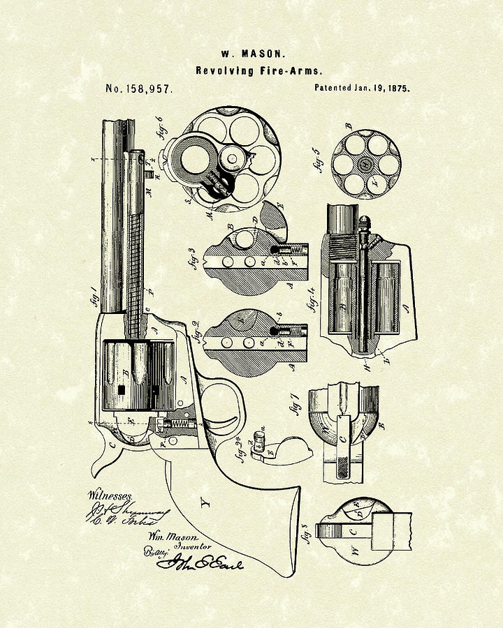 Mason Revolving Fire-Arm 1875 Patent Art by Prior Art Design