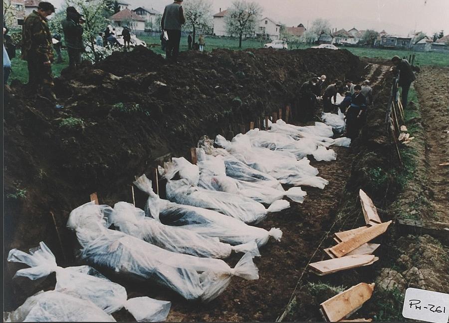 History Photograph - Mass Burial Of Bosniaks Bosnian Muslim by Everett