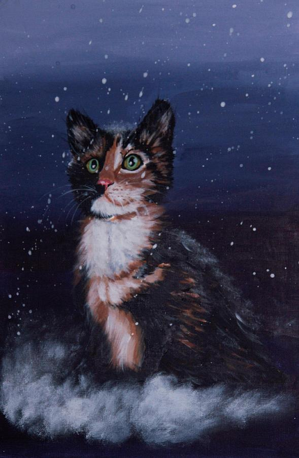 Cat Painting - Masycat by Elena Melnikova
