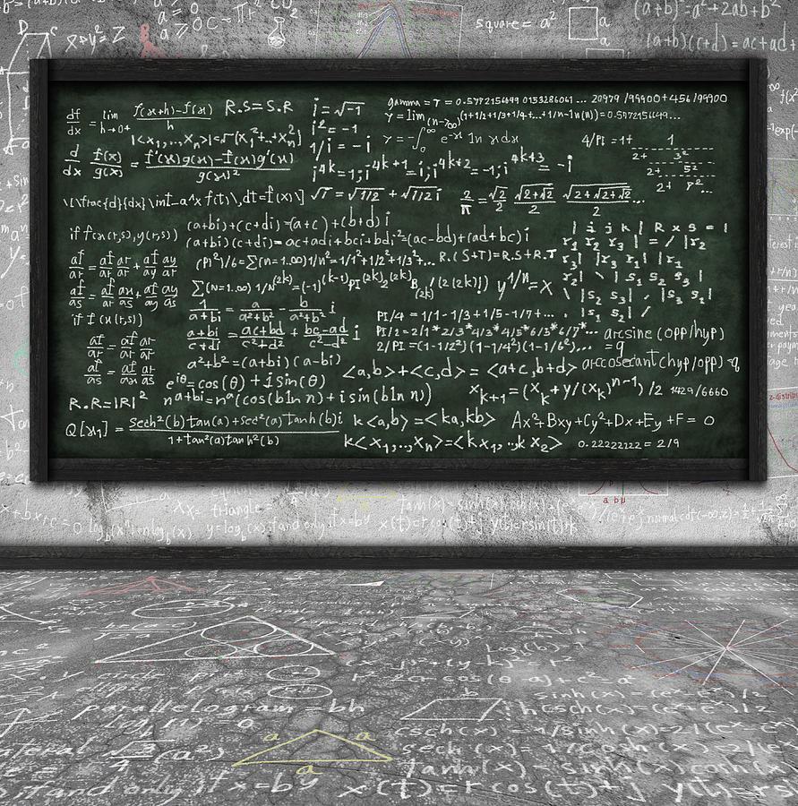 Algebra Photograph - Maths Formula On Chalkboard by Setsiri Silapasuwanchai
