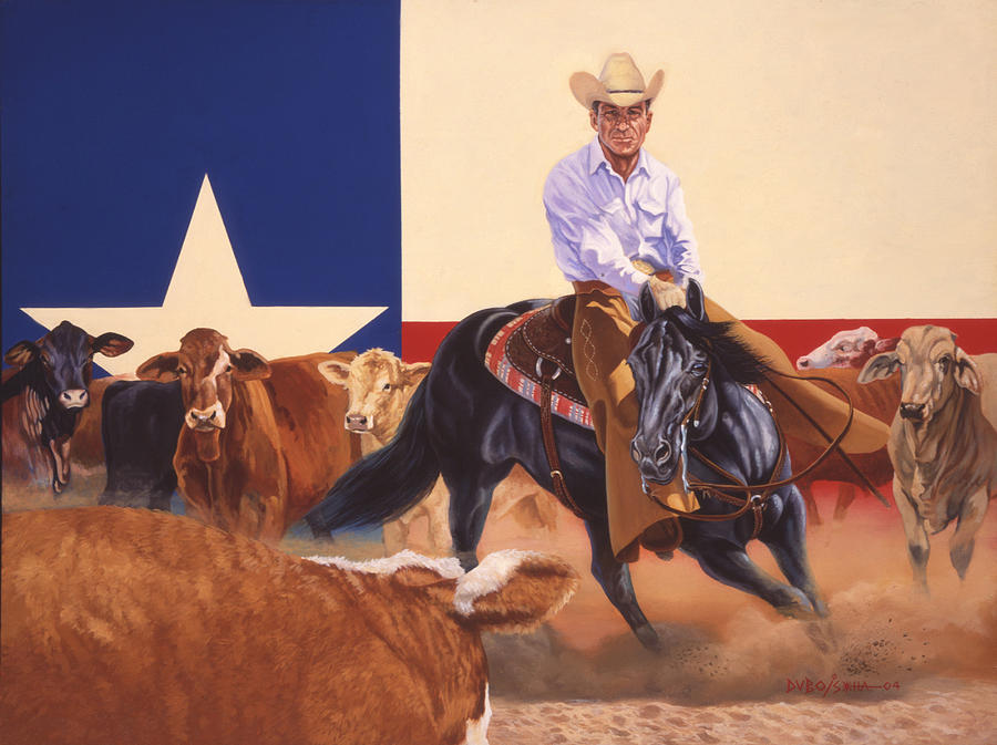 Hall Of Fame Cowboy Painting - Matlock Rose On Peponita by Howard Dubois