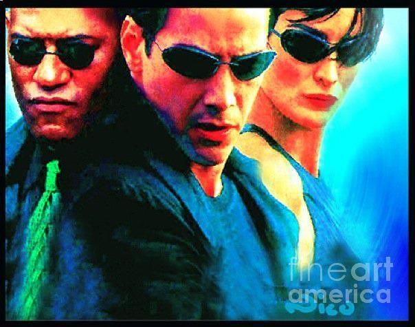 The Matrix Painting - Matrix Reeves by Nicholas Nixo