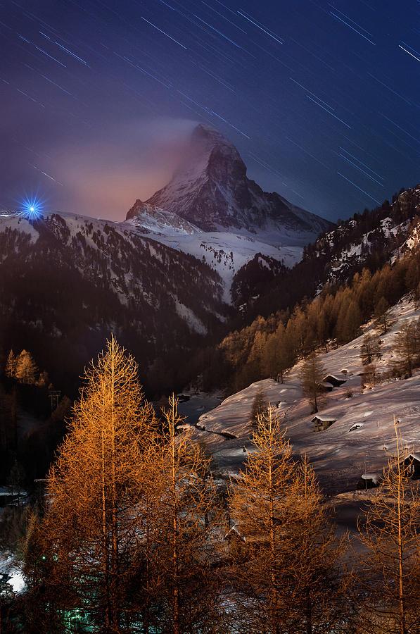 Vertical Photograph - Matterhorn With Star Trail by Coolbiere Photograph