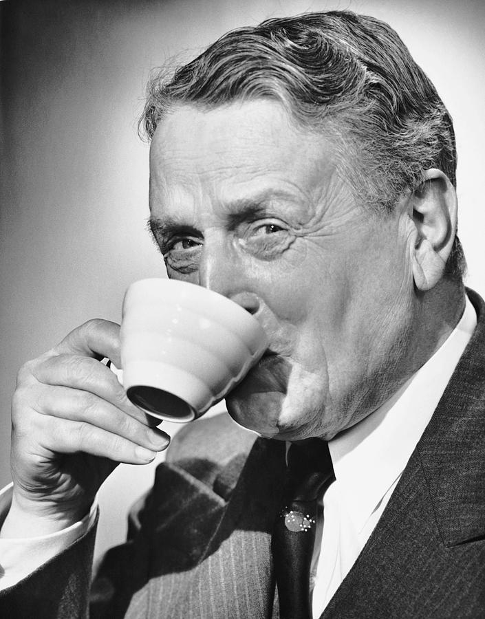 Human Age Photograph - Mature Man Drinking Cup Of Coffee by George Marks