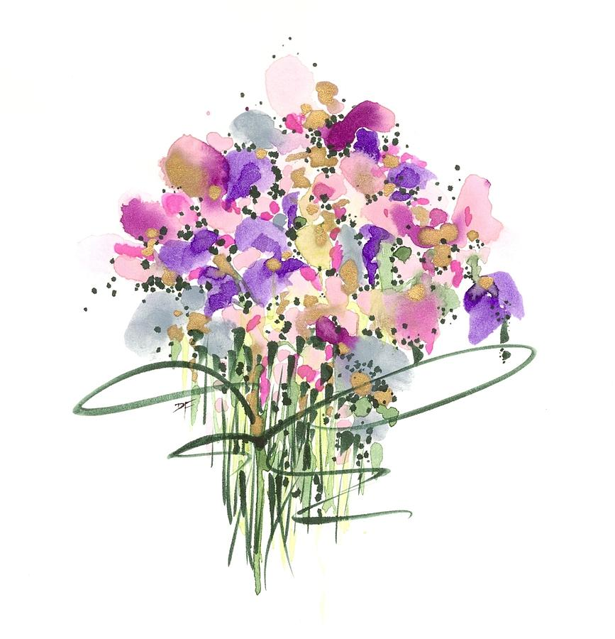 Abstract Flowers Drawing - Mauvey Bouquet by Darlene Flood
