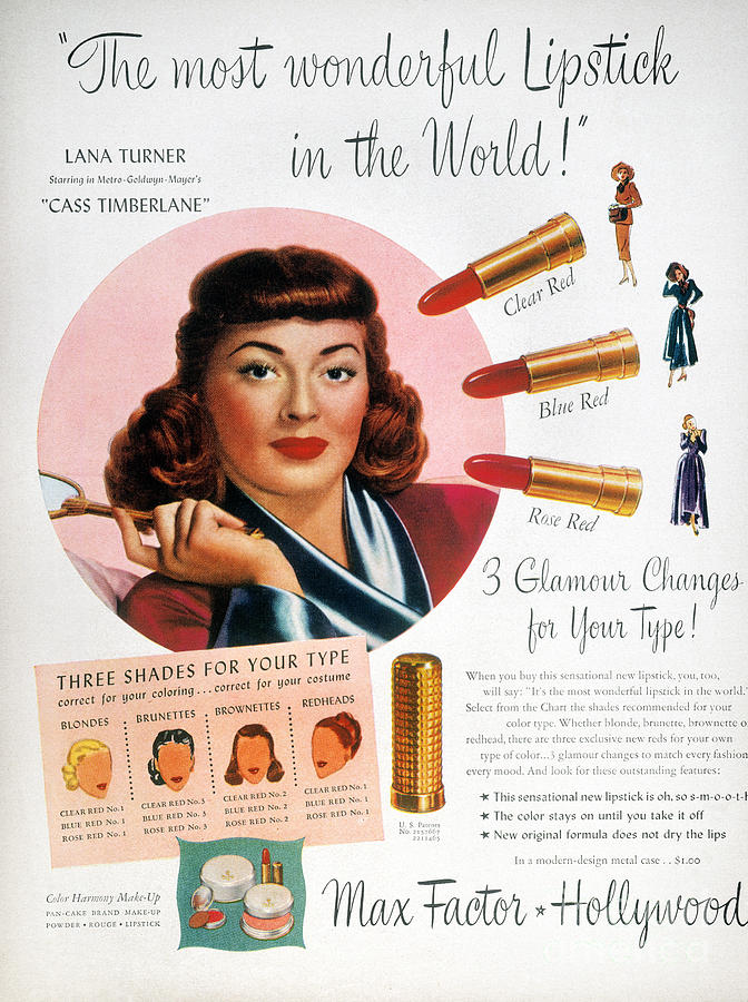 1948 Photograph - Max Factor Lipstick Ad by Granger
