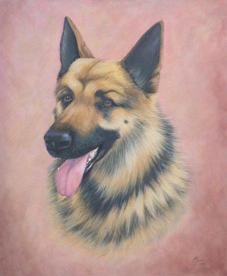 Dog Portrait Painting - Max by Jane Indigo Moore