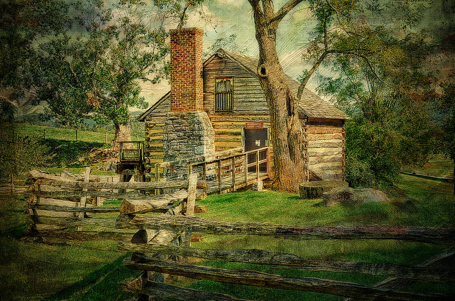 Log Cabin Photograph - Mccormick Grist Mill by Kathy Jennings