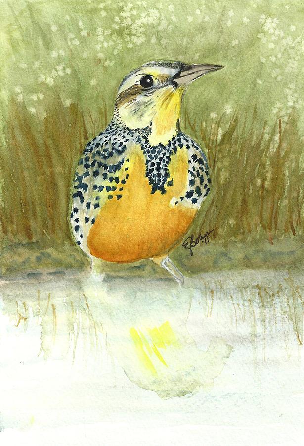 Meadowlark Painting - Meadowlard In Field by Elise Boam