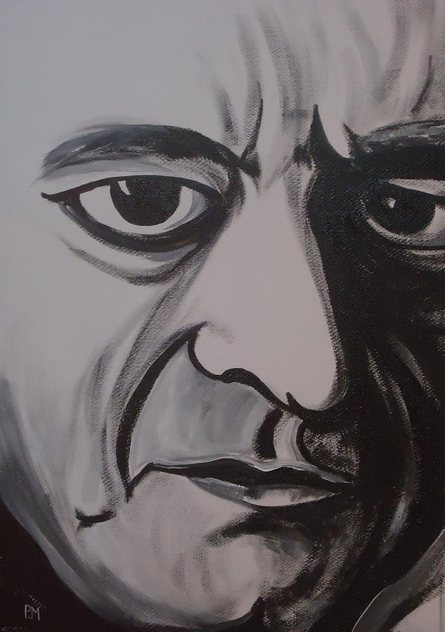 Johnny Cash Painting - Mean Eyed Cat II by Pete Maier